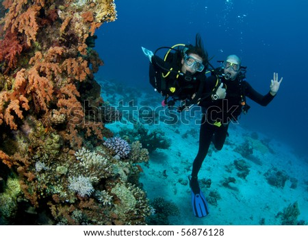 scuba divers happy together