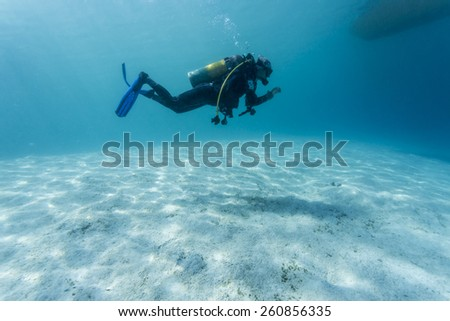 Scuba Divers passing through sandy bottom tropical sea.