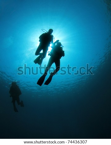 Scuba Divers swim together in blue ocean, silhouette against sunburst