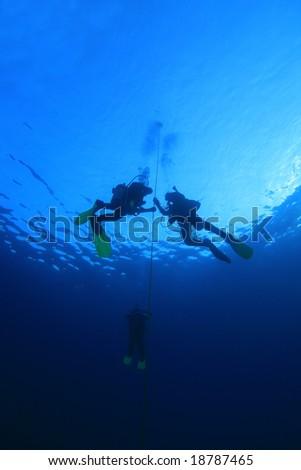 Scuba divers training - stock photo