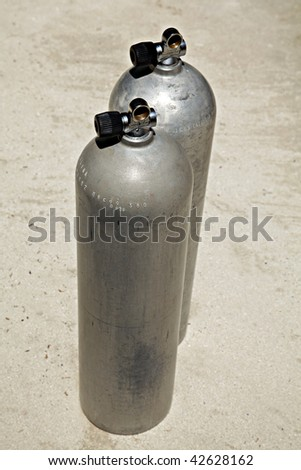 Scuba diving Aluminum pressure air Tanks. - stock photo