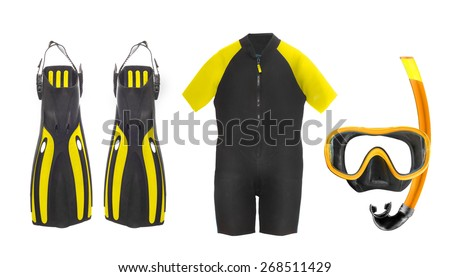 Scuba diving equipment - diving mask, wetsuit and flippers isolated on a white background - stock photo