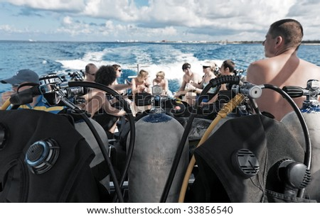scuba diving equipment on a boat on a se