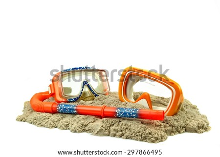 Scuba Diving Equipment On The Sea Beach Sand Isolated On White Background - stock photo
