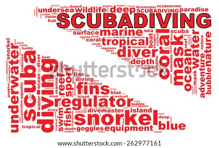 SCUBA DIVING info-text graphics composed in the form of a dive flag concept (word clouds) on a white background. - stock photo