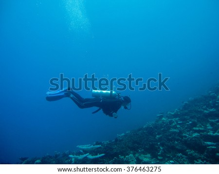 Scuba diving into the deep blue sea and coral reef
