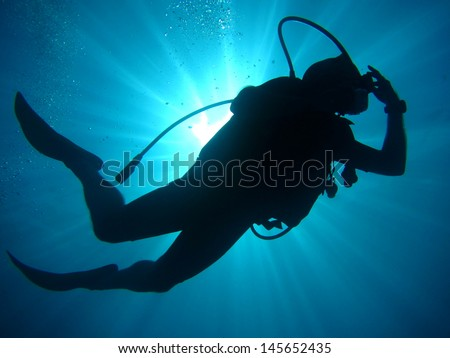 Scuba diving Polynesia - stock photo