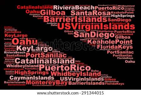 SCUBA DIVING, popular dive sites in the United States of America in order info-text graphics composed in the form of a dive flag concept (word clouds) on a black background.