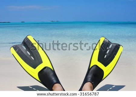 Scuba Fins on the Beach - stock photo