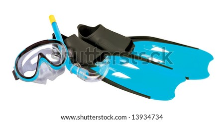 Scuba snorkeling blue diving set. Isolated on white. - stock photo