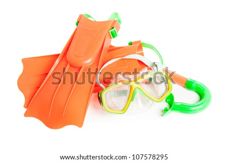 Scuba water diving equipment - snorkel mask and flippers white isolated - stock photo