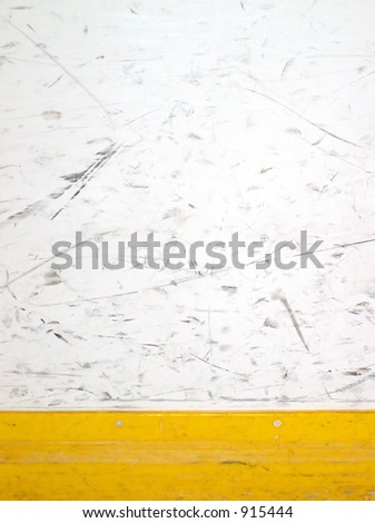 scuffed hockey boards - stock photo