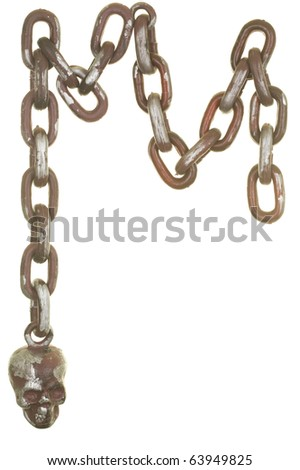 Scull chain decoration; isolated on white background - stock photo