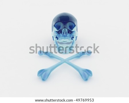 Scull made out of blue glass - stock photo