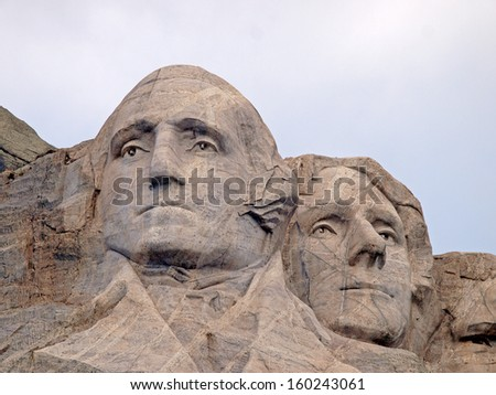 Sculpted images of Presidents George Washington and Thomas Jefferson at the Mt. Rushmore National Memorial, Keystone, South Dakota