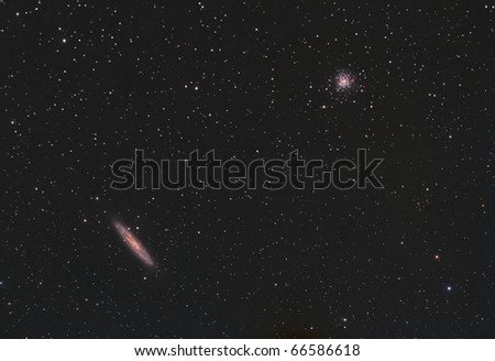 Sculptor Galaxy and the NGC 288 Cluster - stock photo