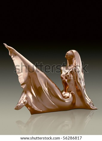 Sculptor Victor Mitroshin. Interior a sculpture. Bronze,  interior a sculpture 48x23x36 cm. - stock photo