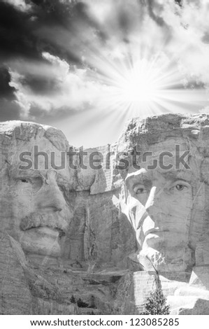 Sculptue of Mt Rushmore - USA - stock photo