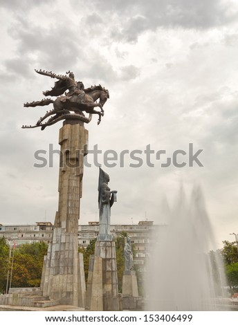 Sculptural Complex Manas. Manas is devoted to the composition of the same name the main characters of the Kyrgyz epic. Bishkek, Kyrgyzstan - stock photo