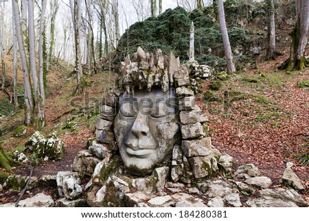 Sculptural composition at the entrance to Vorontsovskiye peschery.Sochi - stock photo
