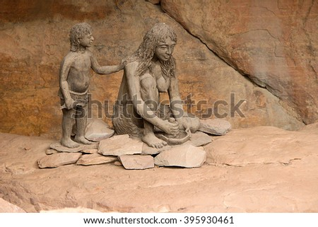 Sculptural depiction of life of prehistoric cave dwellers at Bhimbetka near Bhopal, Madhya Pradesh, India, Asia