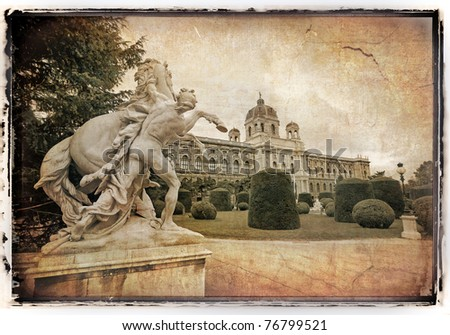 Sculpture and Natural History Museum in old film style. Vienna. - stock photo