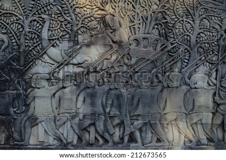 sculpture at Bayon - stock photo