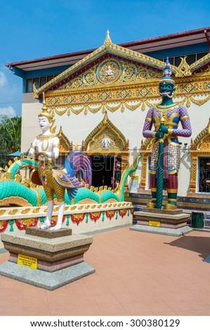 Sculpture at the Thai temple Wat Chayamangkalaram on island Penang, Malaysia  - stock photo