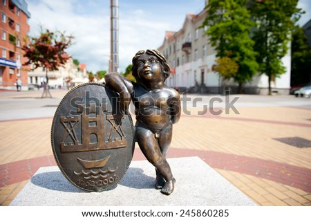 Sculpture 'Coat of arms of Klaipeda' in Klaipeda, Lithuania.  - stock photo