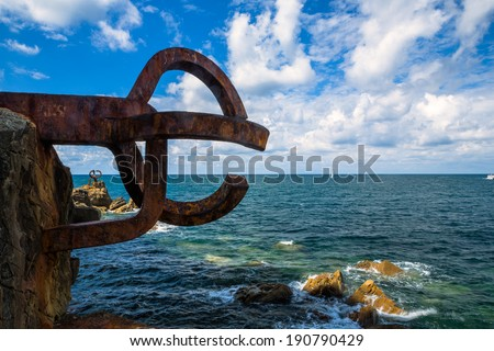 Sculpture (Comb Of The Wind by Chillida) in San Sebastian, Basque Country, Spain - stock photo