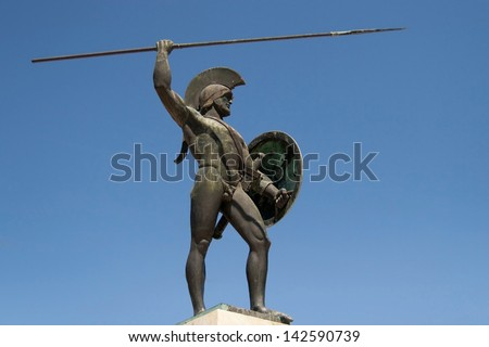 Sculpture dedicated to king Leonidas of the Spartans in Thermopylae, Greece.