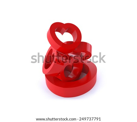 Sculpture from heart shapes. three-dimensional render. Isolated on white background. - stock photo
