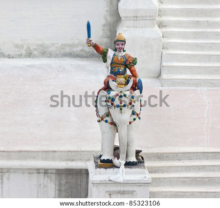 Sculpture in front of Boudhanath Stupa in Kathmandu, Nepal - stock photo