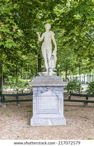 Sculpture in Parc de Bruxelles (or Warandepark) - the largest public park in the center of Brussels, Belgium. Warandepark is surrounded by the Royal Palace of Brussels. - stock photo