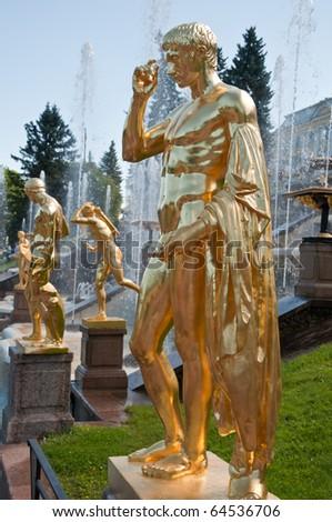 Sculpture in Peterhof, St Petersburg, Russia. - stock photo