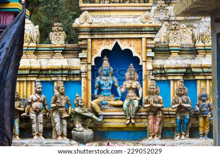Sculpture in Sri Baktha Kovil temple. Nuwara Eliya. Sri Lanka. - stock photo