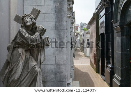 Sculpture in the cemetery of Recoleta, Buenos Aires, Argentina - stock photo