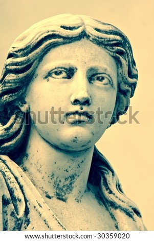 Sculpture in the Punta Arenas Cemetery. Chile - stock photo