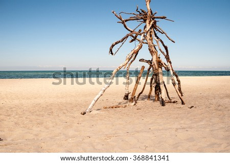 Sculpture made of driftwood on the beach at blue sky. - stock photo