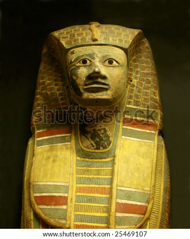 sculpture  mummy  sarcophagus of  egyptian pharaoh - stock photo