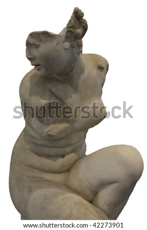 Sculpture of a Crouching Venus isolated on white background - stock photo