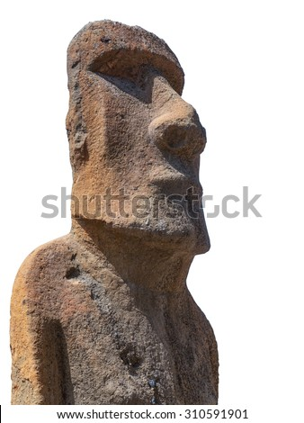 Sculpture of a Moai carved in volcanic stone from Easter Island Chile on white background - stock photo