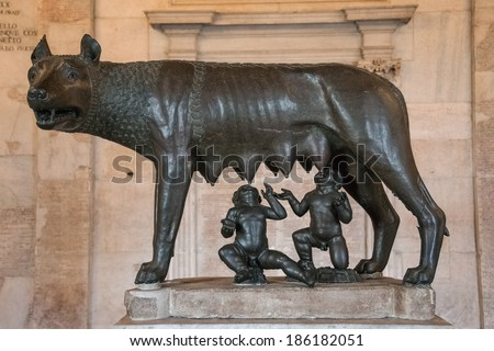 Sculpture of a mother-wolf feeding Romulus and Remus, Rome, Italy, 2014