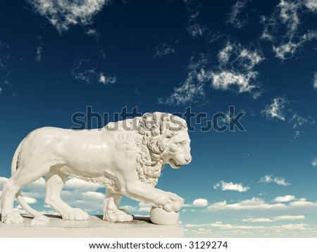 Sculpture of a white lion on a background of the blue sky