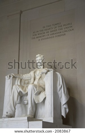 Sculpture of Abraham Lincoln sitting and looking, inside Lincoln Memorial, Washington DC, USA