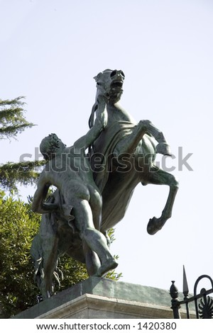 sculpture of an horse and man tamer, Naples, Italy