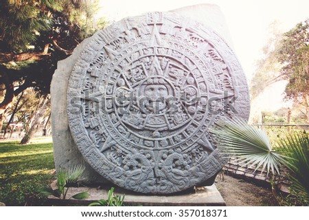 Sculpture of Ancient Mayan Calendar in Tijuana ZOO, Mexico - stock photo