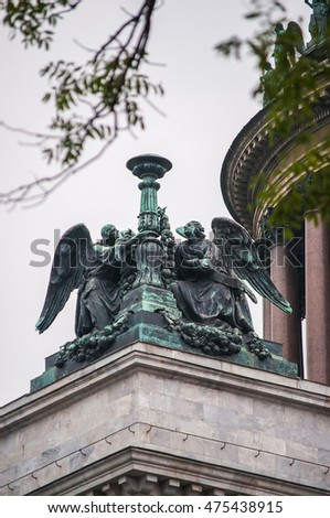 Sculpture of Angels on the roof of the St. Isaac cathedral. St. Petersburg, Russia.