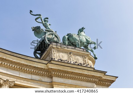 Sculpture of chariot of War at the Hero Square Monument in Budapest, Hungary