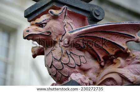 Sculpture of dragon from Cardiff